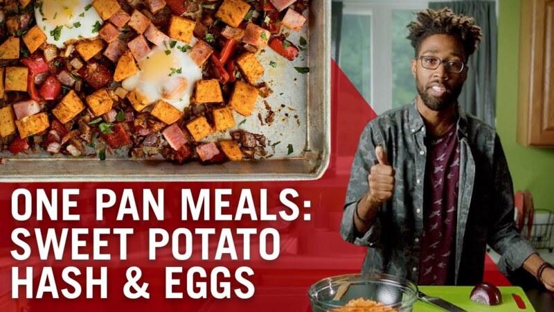 Sheet Pan Baked Eggs & Sweet Potato Hash
