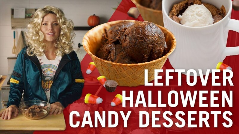 Edible Brownie Batter & Mug Blondies with Leftover Halloween Candy