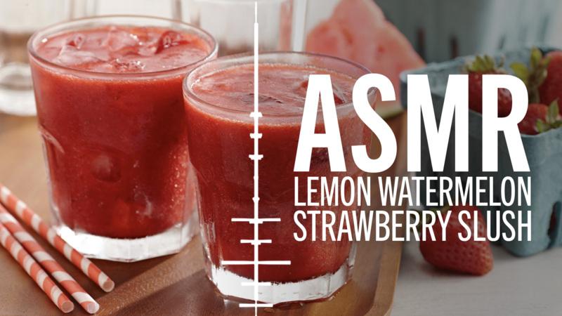 ASMR | How to Make Lemon Watermelon Strawberry Slush