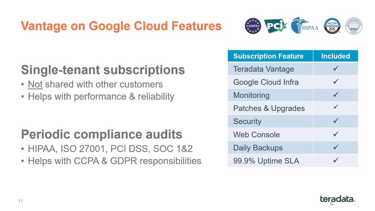 Google Cloud Options for Teradata Vantage