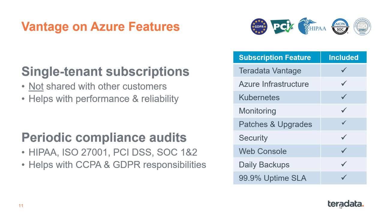 Azure Options for Teradata Vantage