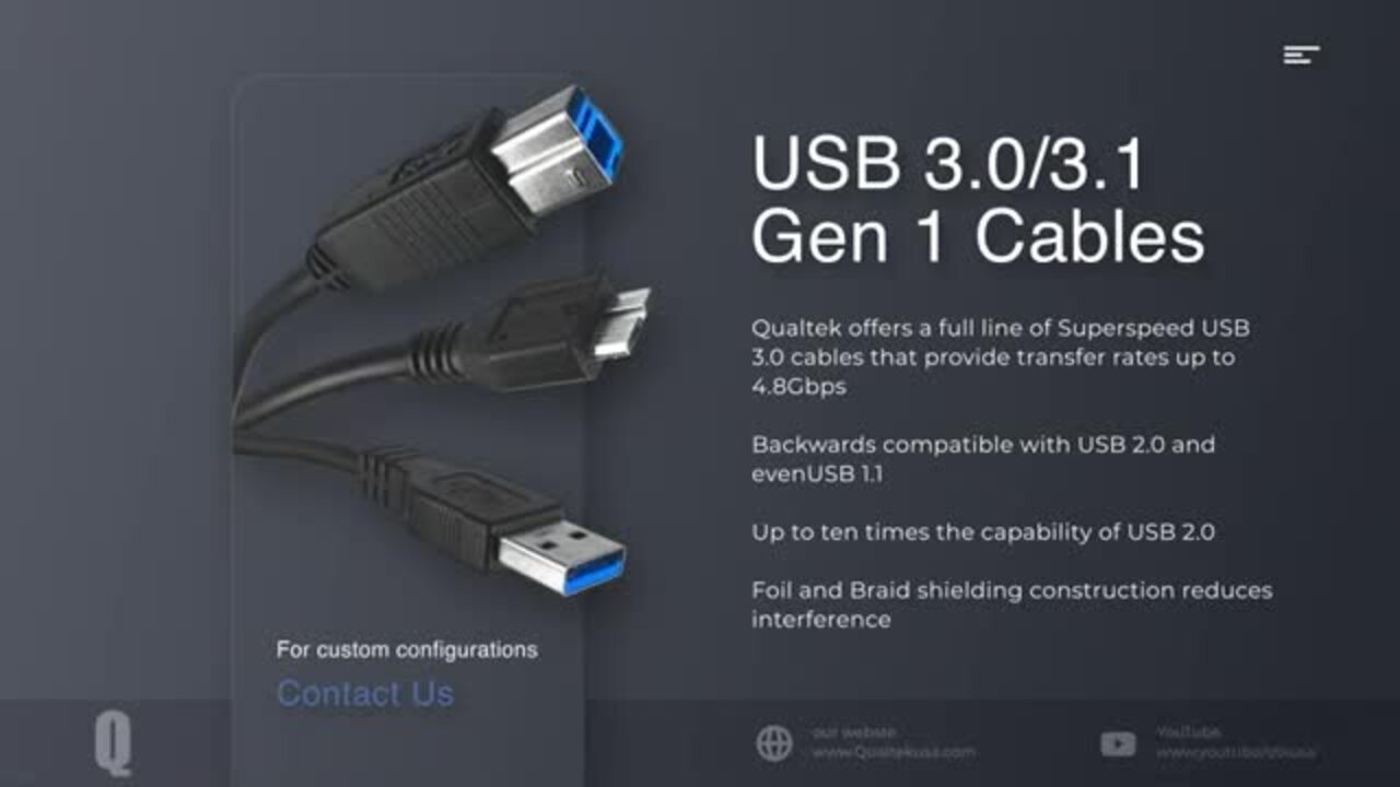USB Cables Video, 2.0, 3.0, 3.1 gen 2