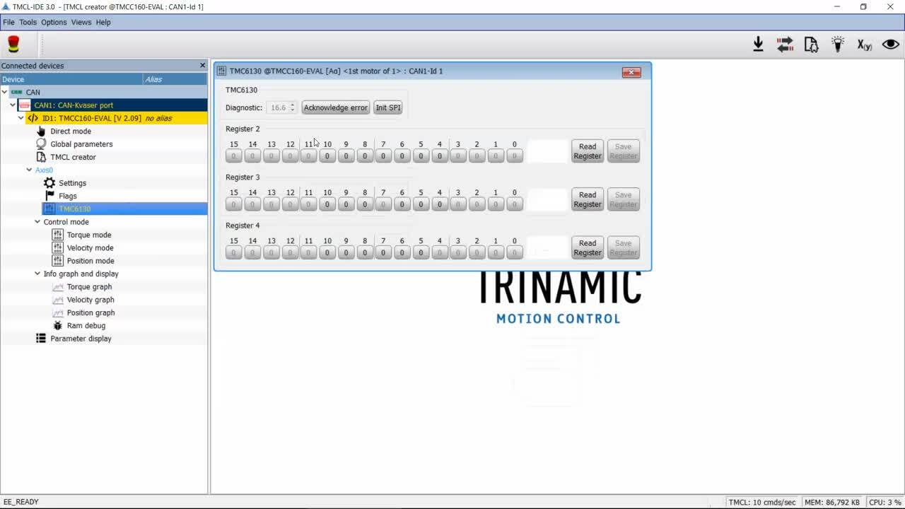 How to get started with the Trinamic motionCookie BLDC/PMSM Microsystem