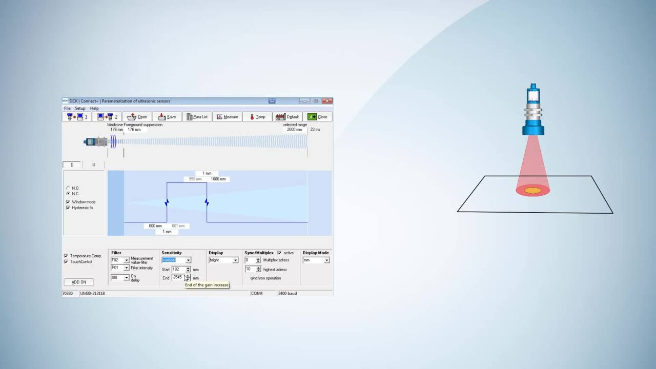 Tutorial Ultrasonic Sensors: Variable sound cone adjustment