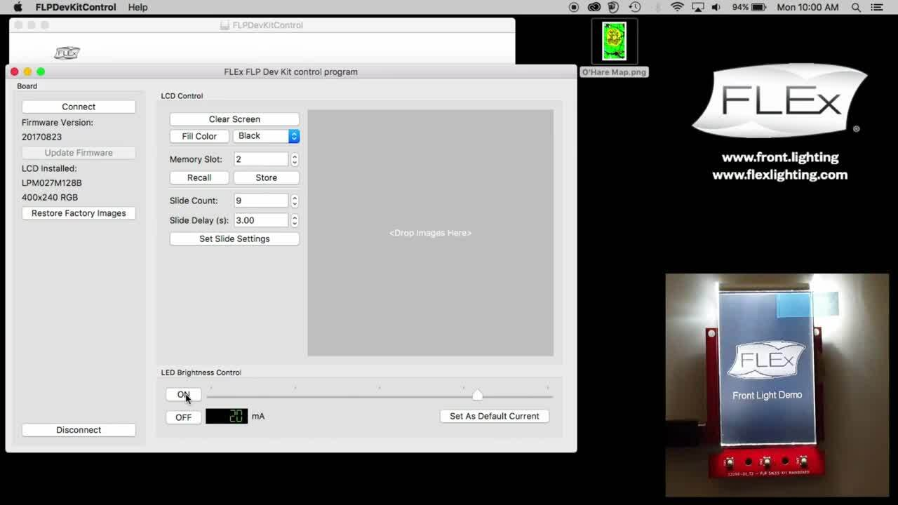 "Developer Kit Demo: Front Light Panel on a JDI 2.7"" Color Reflective Display | FLEx Lighting"