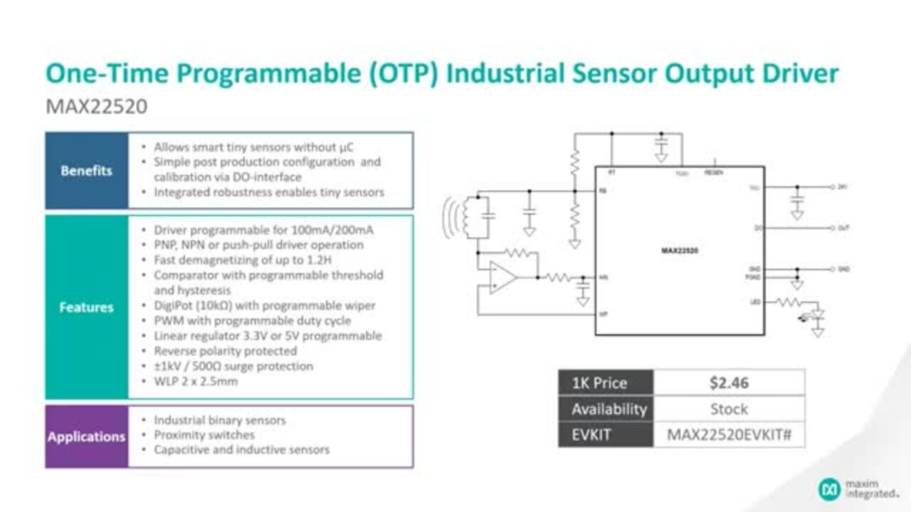 Introduction to the MAX22520 One-Time Programmable (OTP) Industrial Sensor Output Driver