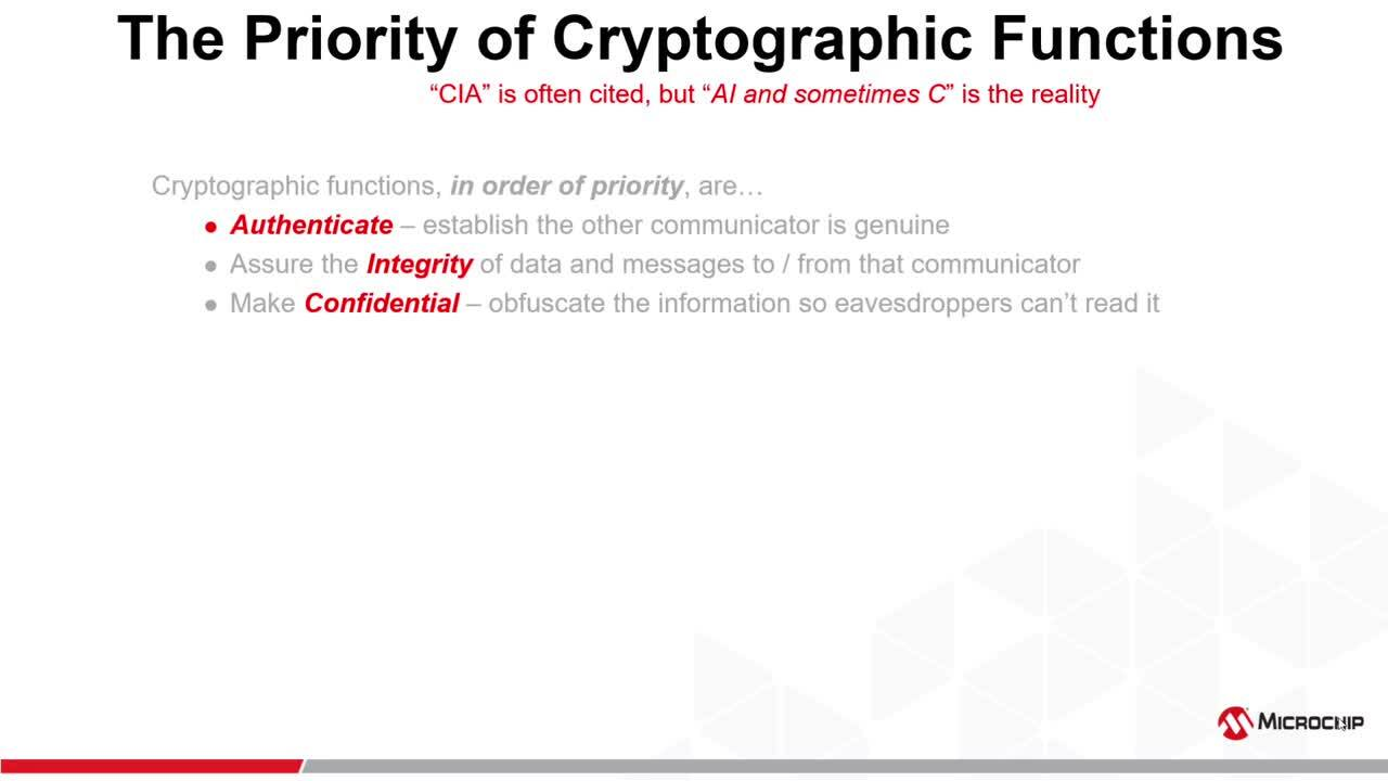 Microchip Security:  Cryptography Primer - Pt 2 - Authentication Integrity  Confidentiality