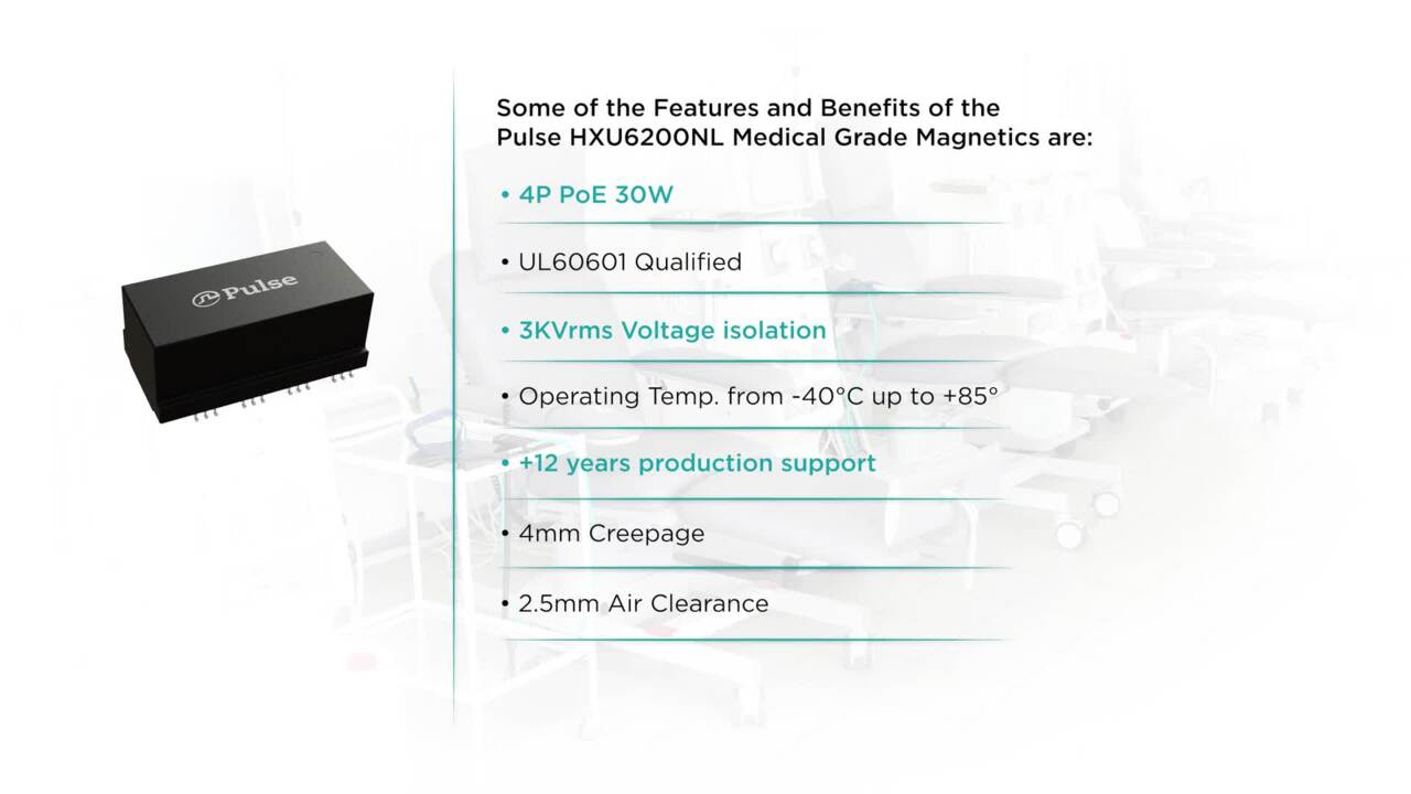 Medical Grade Magnetics for Ethernet applications- HXU6200NL