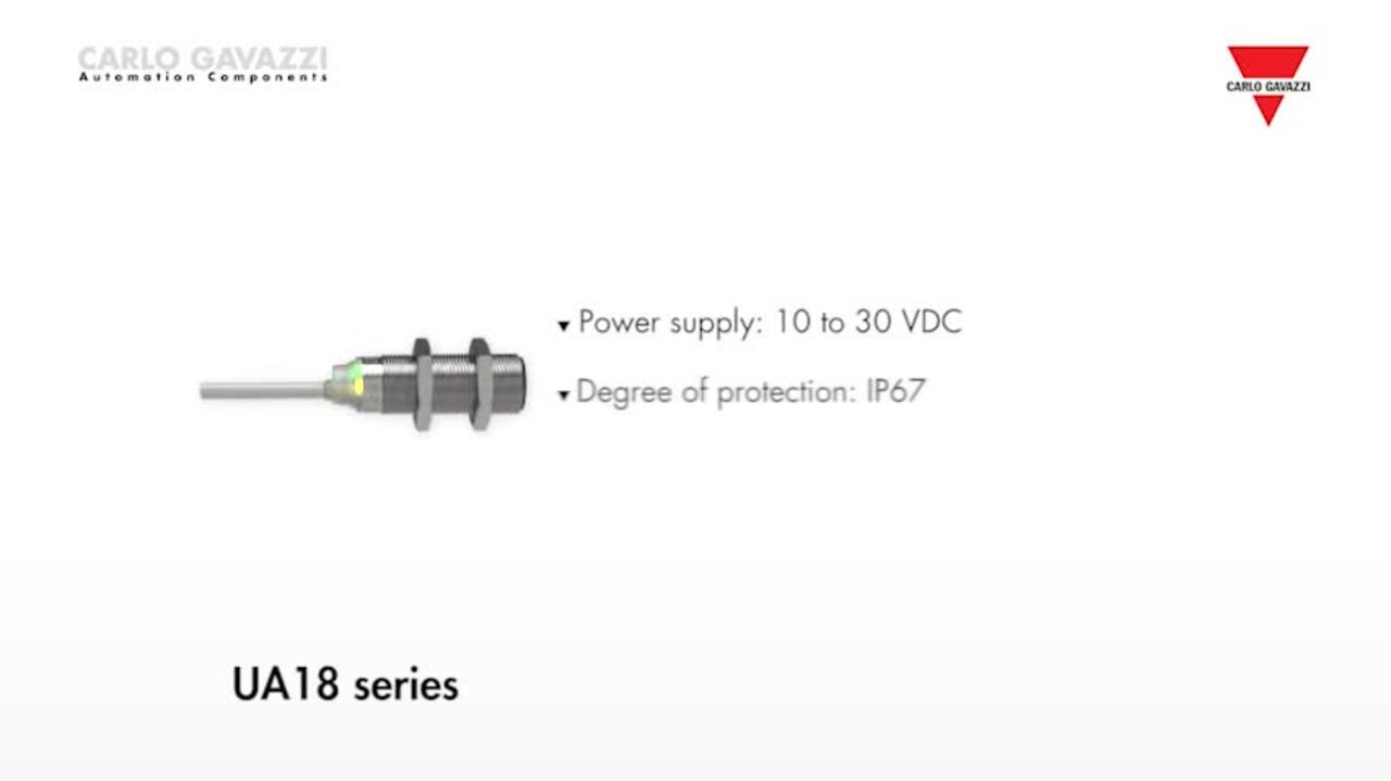 UA18 Series Ultrasonic Sensors from Carlo Gavazzi