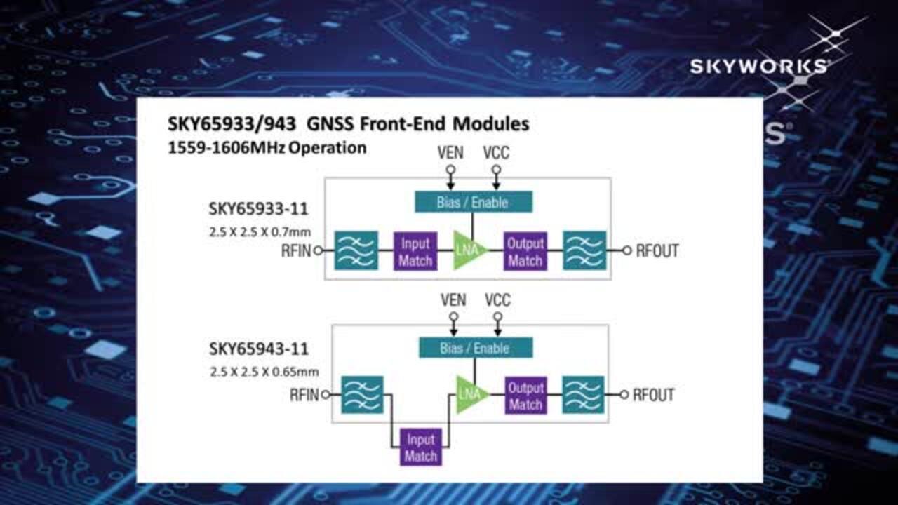 SKY65933/943 GNSS Low-Noise Amplifier FEM