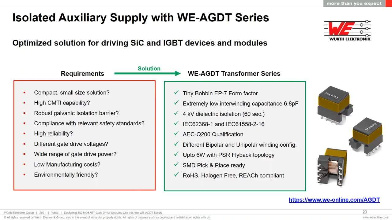 WEbinar Powered by Digi-Key: Designing SiC-MOSFET Gate Driver systems with new WE-AGDT transformer series