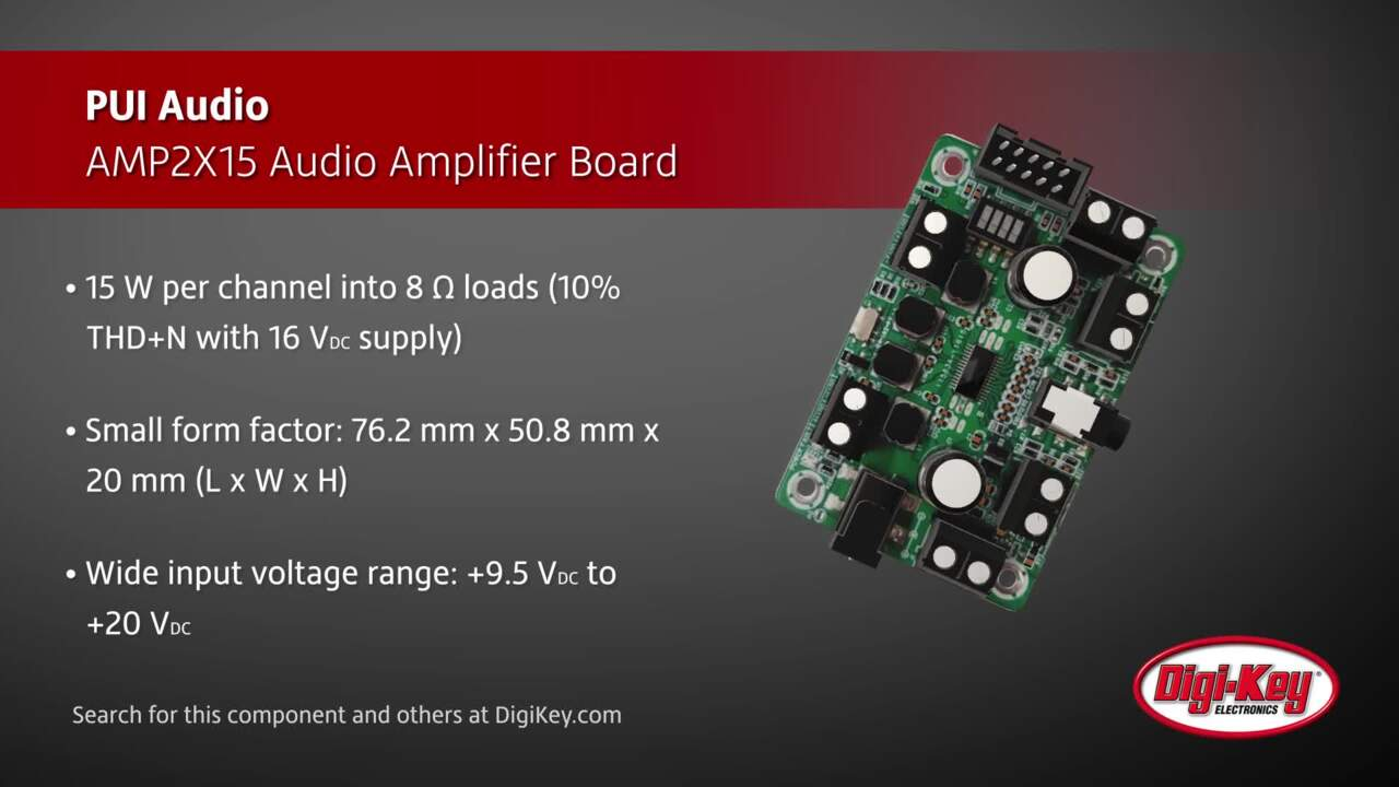 PUI Audio AMP2X15 Audio Amplifier Board | Digi-Key Daily