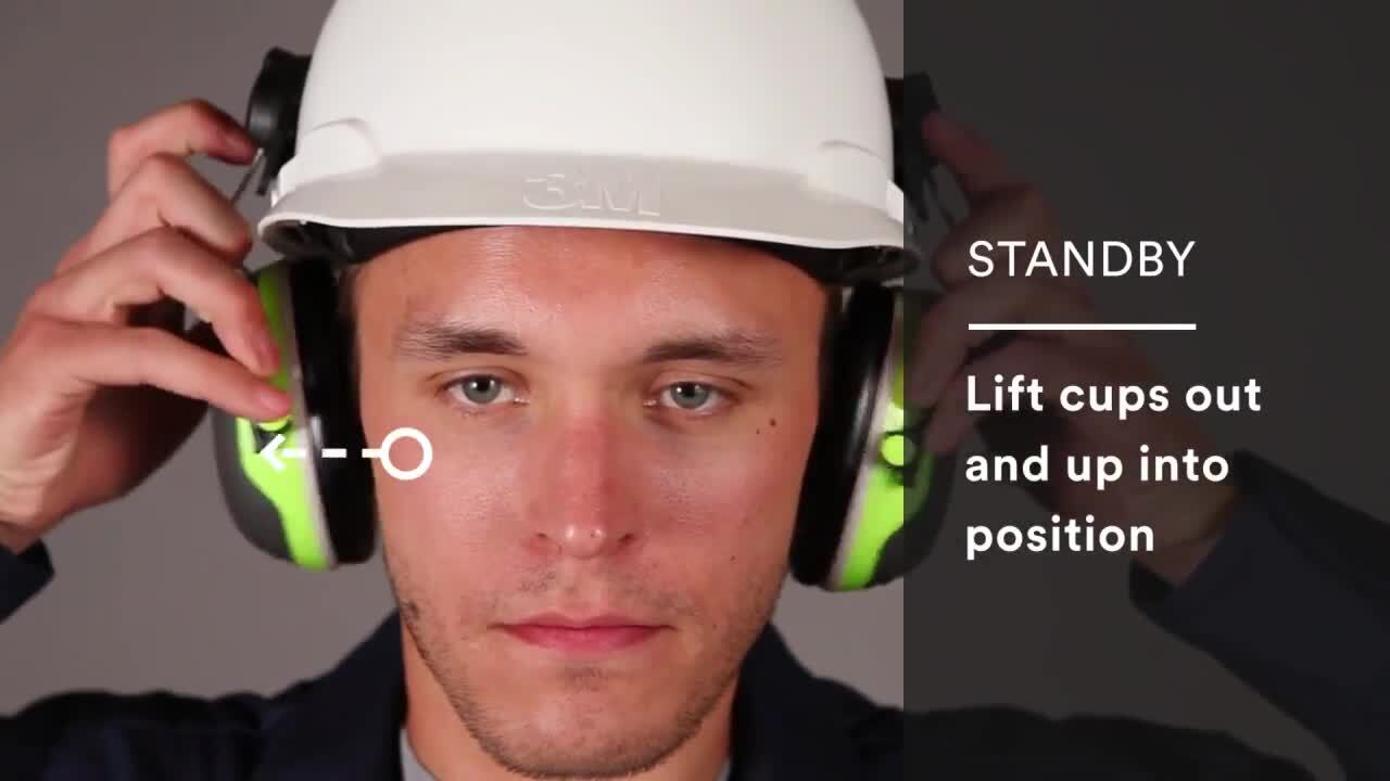 How to attach and use 3M™ PELTOR™ Earmuffs X-Series Hardhat