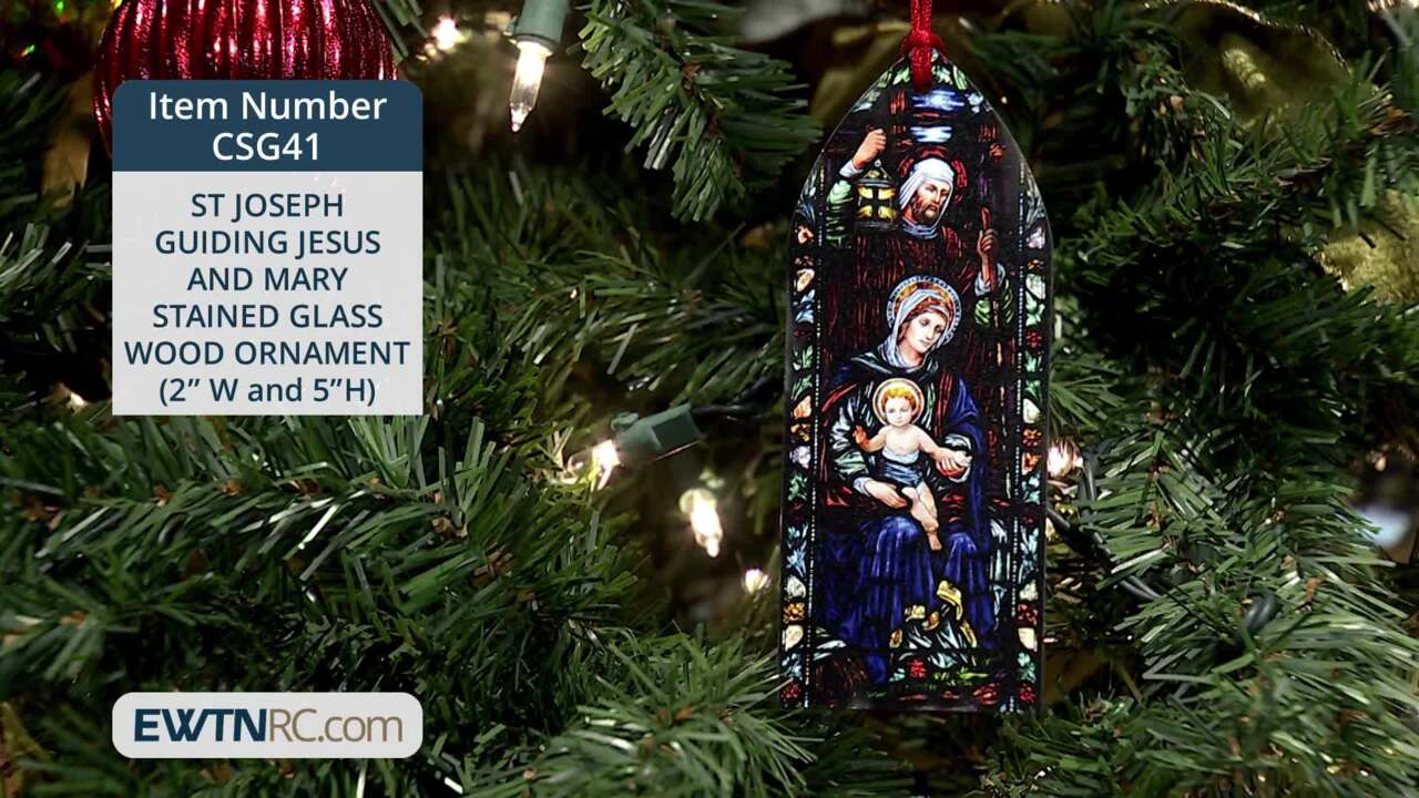 CSG41_ST JOSEPH GUIDING JESUS AND MARY STAINED GLASS WOOD ORNAMENT