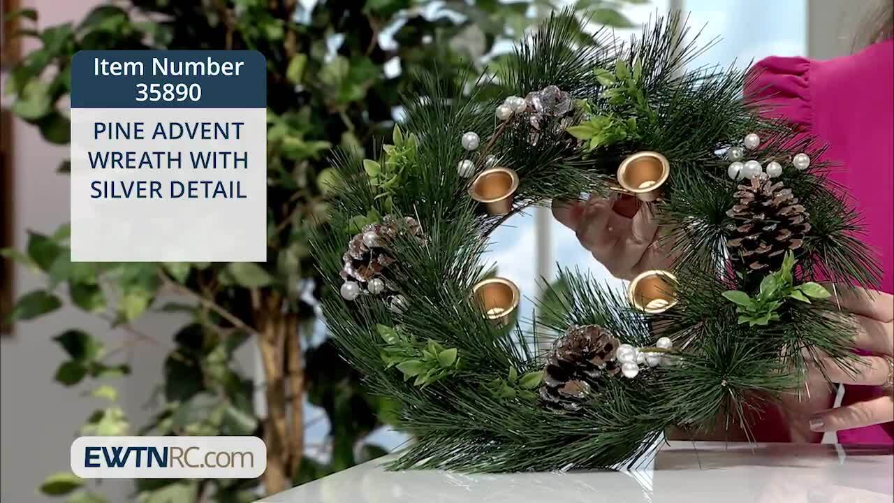 35890_PINE ADVENT WREATH WITH SILVER DETAIL