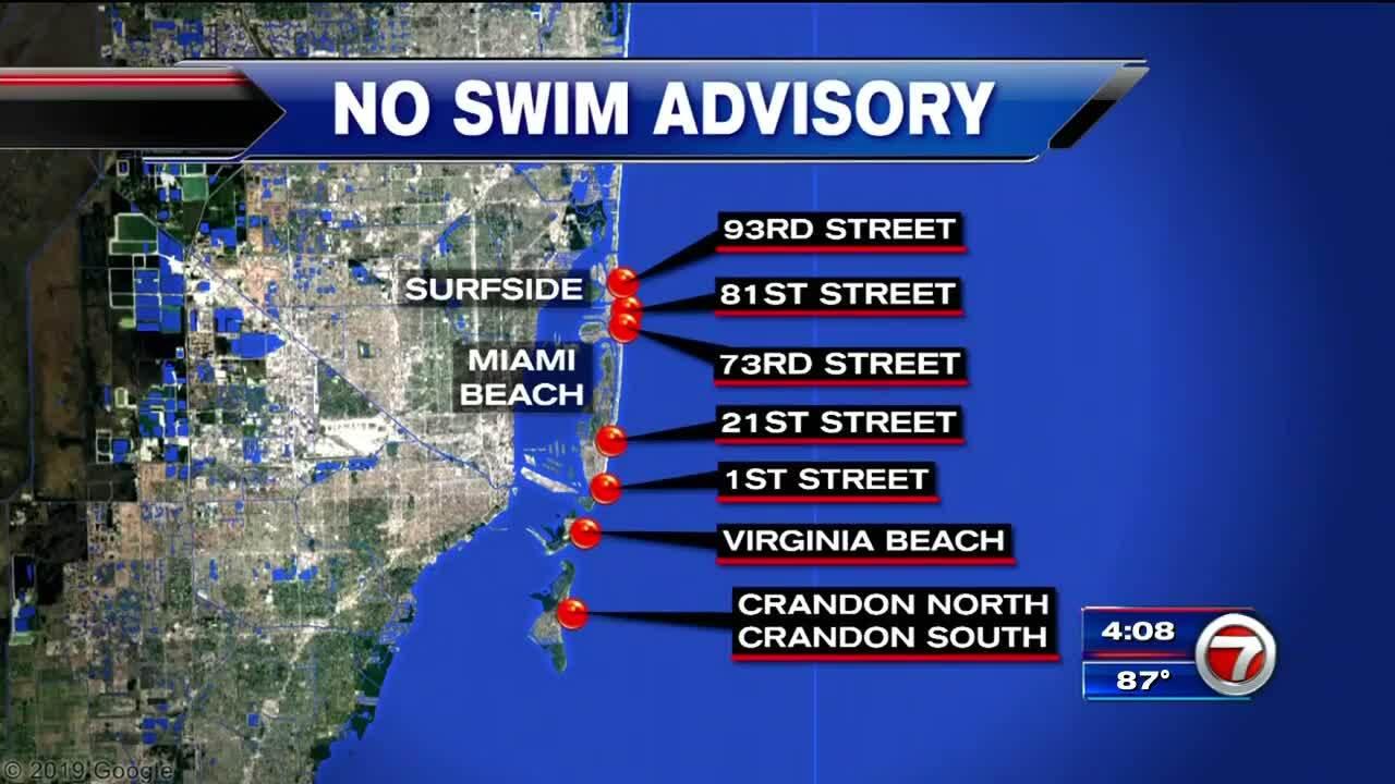 Several Miami-Dade beaches placed under no-swim advisory