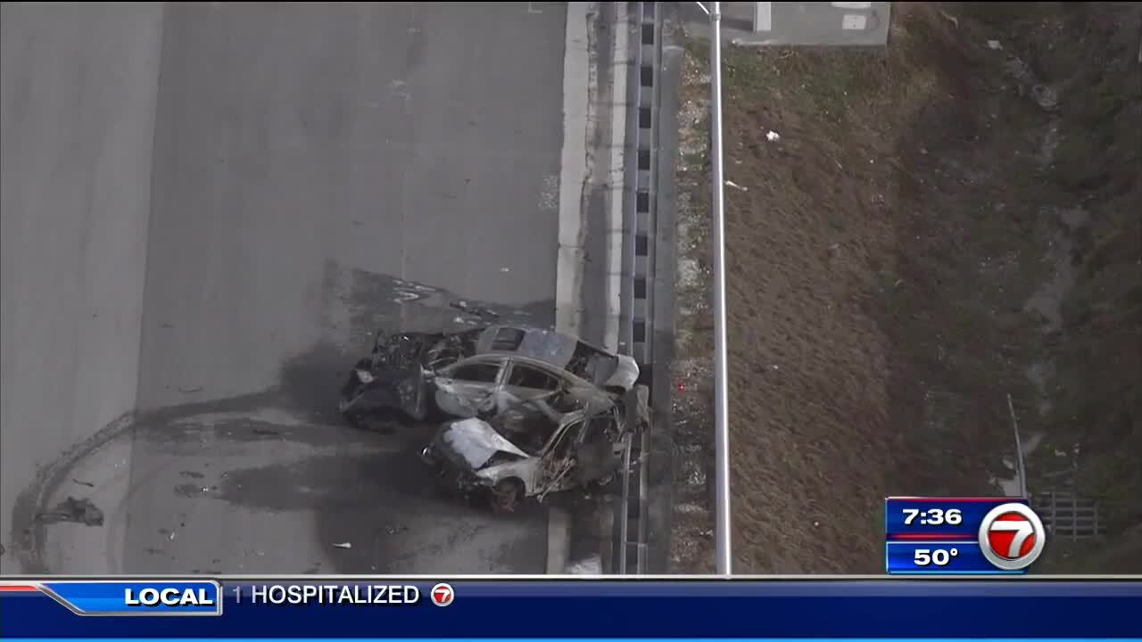 Teen killed, 2 injured after cars catch fire on I-95 in Deerfield
