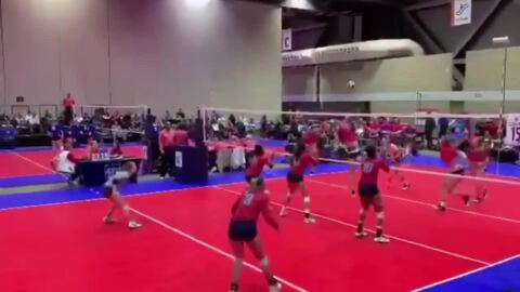 Volleyball player leaps into crowd to make incredible save