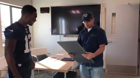 Former Stockton  prep star Brandin Cooks surprises Rams' team custodian with trip to Super Bowl