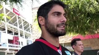 49ers quarterback Jimmy Garoppolo talks about his wide receivers at minicamp