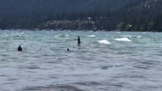 Wind provides a surfing opportunity at Lake Tahoe