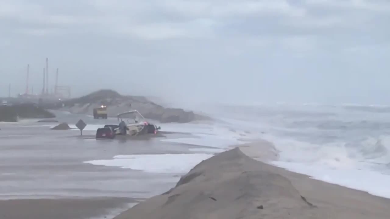 Rough surf damages Outer Banks pier; highway cleanup begins after days of flooding
