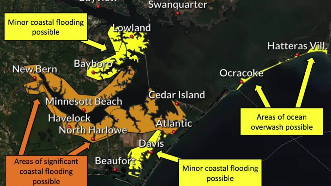 Coastal storm closes NC 12 access to Hatteras Island; most ferry service suspended