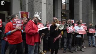 Why communication workers were rallying against Wells Fargo