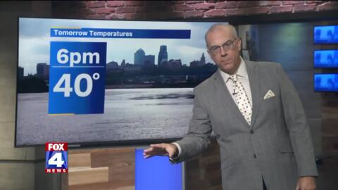 Temps will go from near 60 down to 40s in KC. Chance of rain, snow on Friday