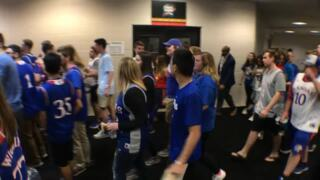 KU students rush for seats at Final Four in Alamodome