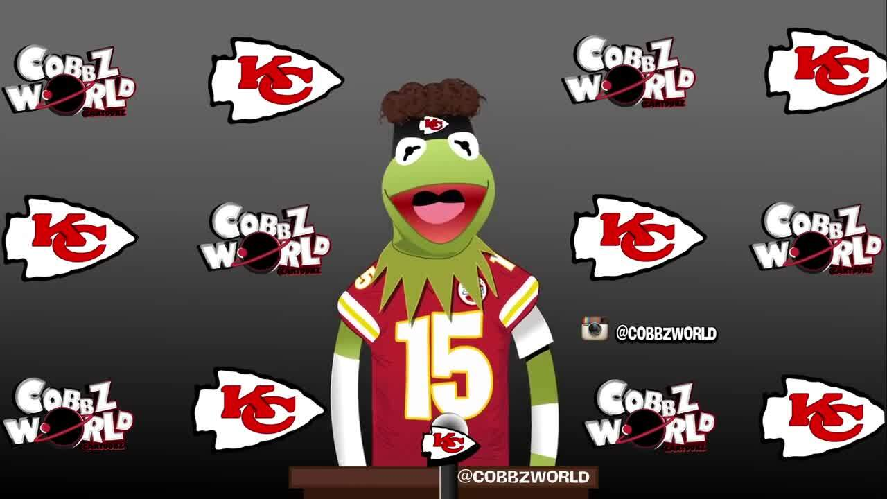 Here is a Patrick Mahomes/Kermit the Frog mash-up video