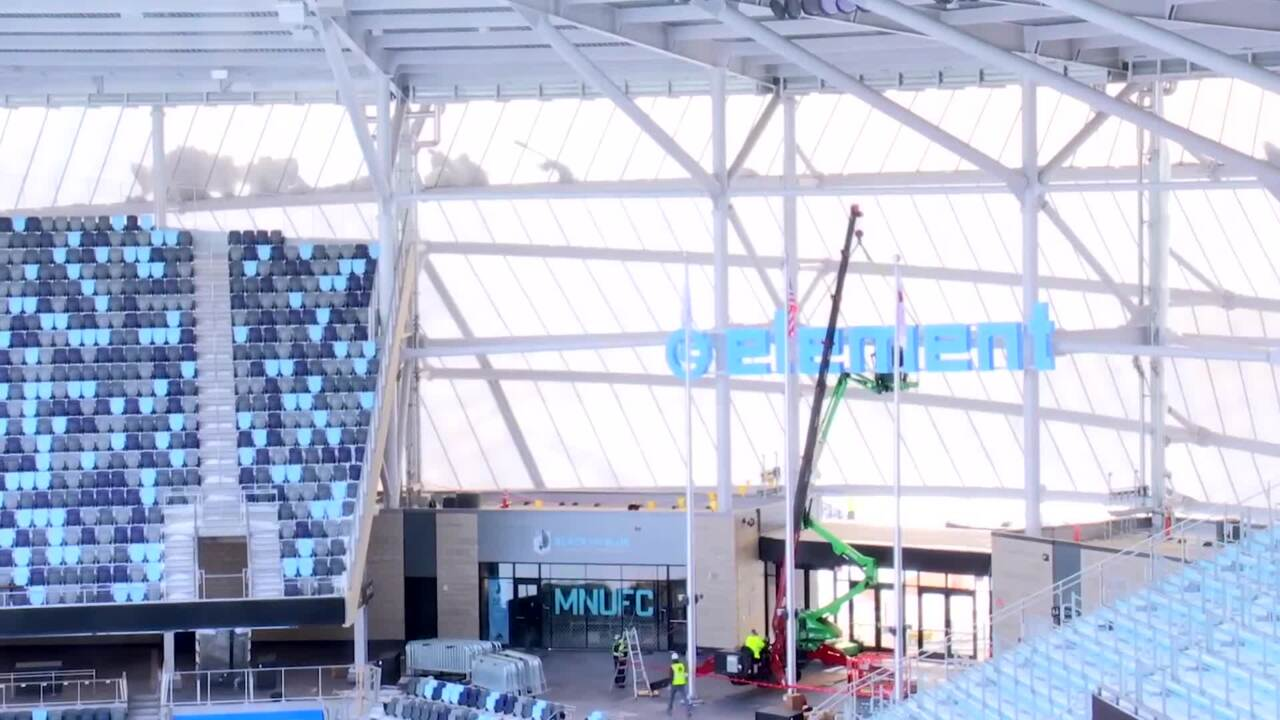 Element Electronics sign is installed at Allianz Field