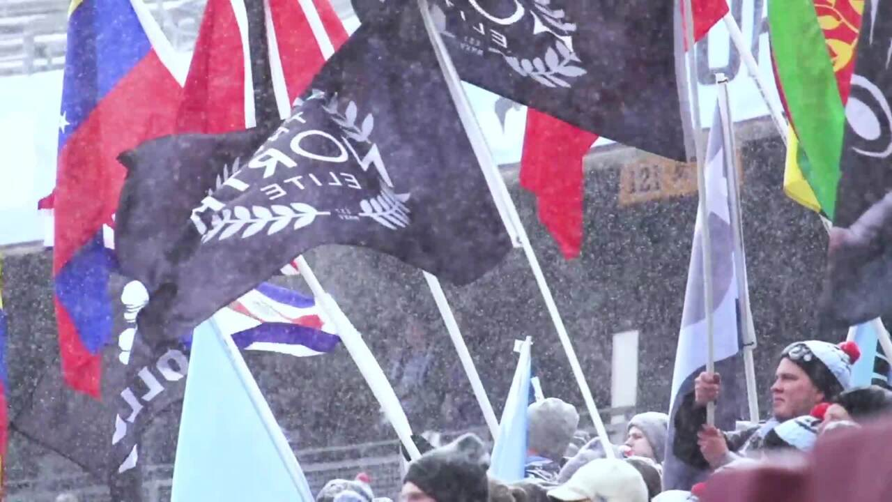 Flags wave in the snow
