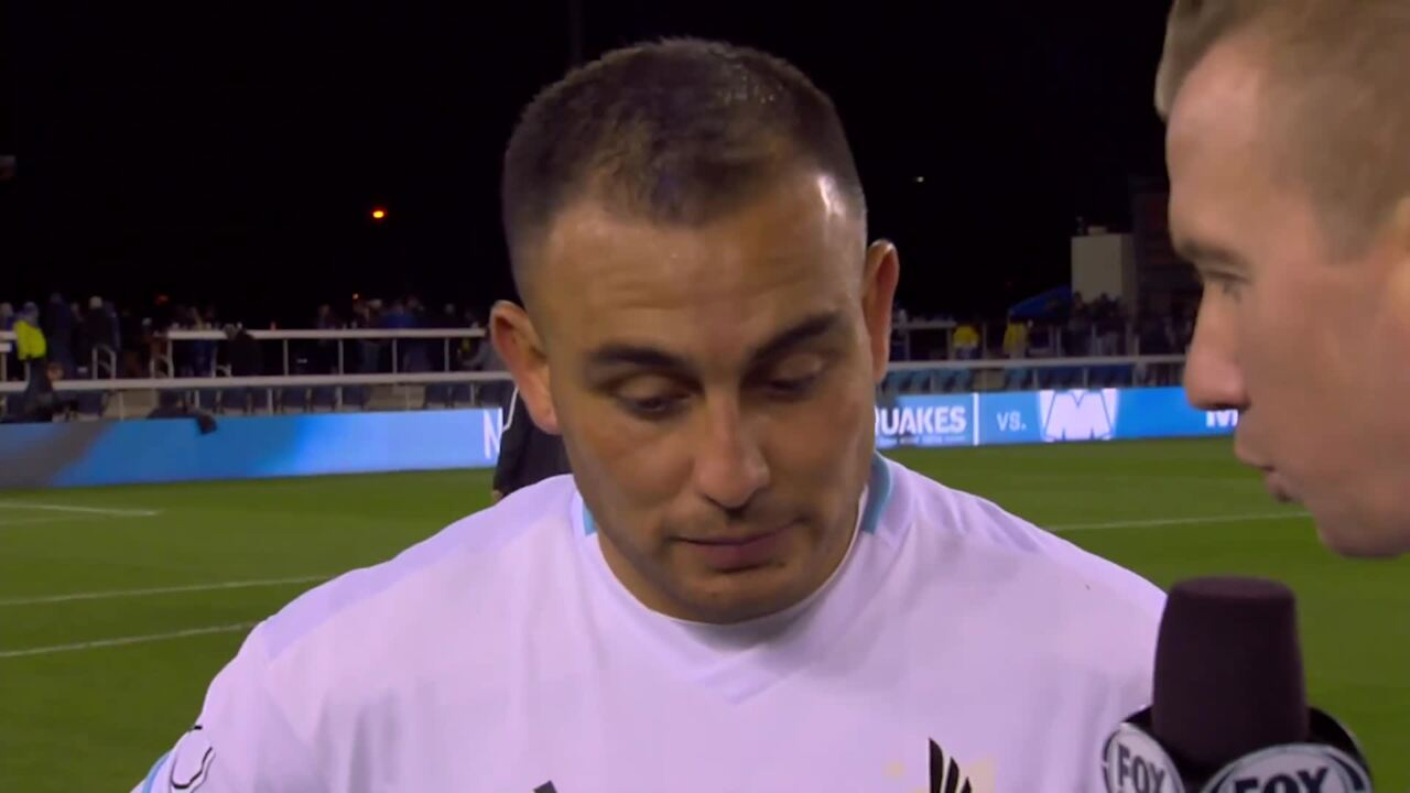 Miguel Ibarra interviewed on the field after a game.