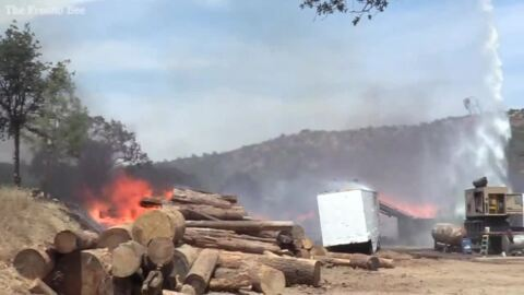 Stacks of logs burn at Deck Fire in Auberry