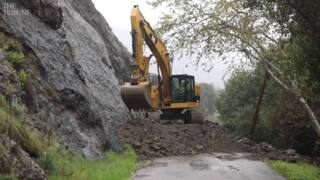 Crews work to clear rockslide between Cambria, Highway 46