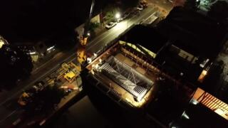 Watch drone video of Hotel Serra's rooftop pool being placed