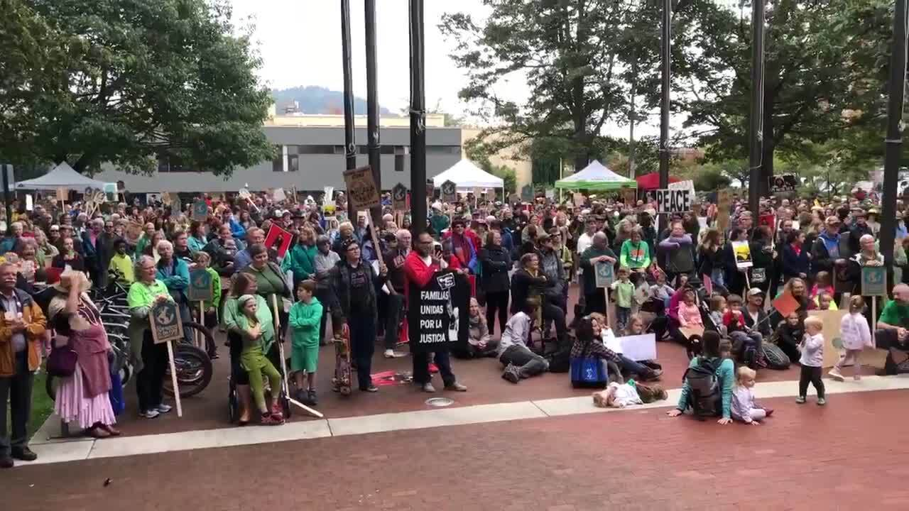 About 1,500 people rally at Bellingham City Hall as part of worldwide climate strike