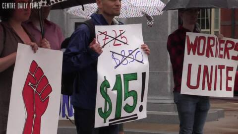 Residents gather wanting living wages