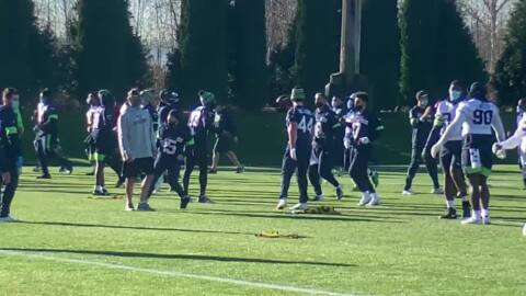 Chris Carson, Carlos Hyde in it, Tre Flowers watching start of Seahawks practice two days before hosting Giants
