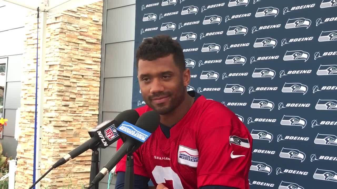 12d86ad7 Russel Wilson talks about throwing to Brandon Marshall, on Seahawks running  backs, more | Tacoma News Tribune