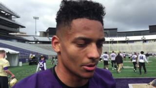 Huskies sophomore WR Ty Jones speaks after Day 1 of spring practice