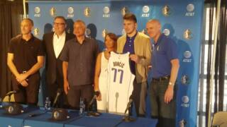 Luka Doncic enjoys a moment in the spotlight with his mother, Mirjam Poterbin