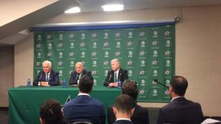 New Dallas Stars head coach Jim Montgomery at his introductory press conference