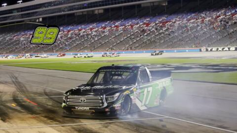 Tyler Ankrum skids down pit road during truck series at TMS