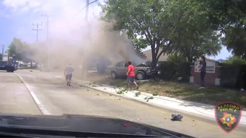 North Texas police officers save woman from burning car after crash