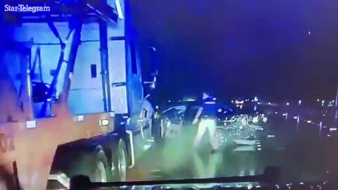 Video shows tractor trailer nearly crushing Texas corporal on slick highway