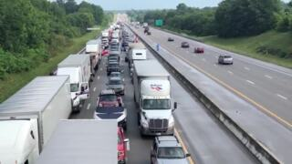 Traffic backs up on I-75 southbound after truck fire, storm