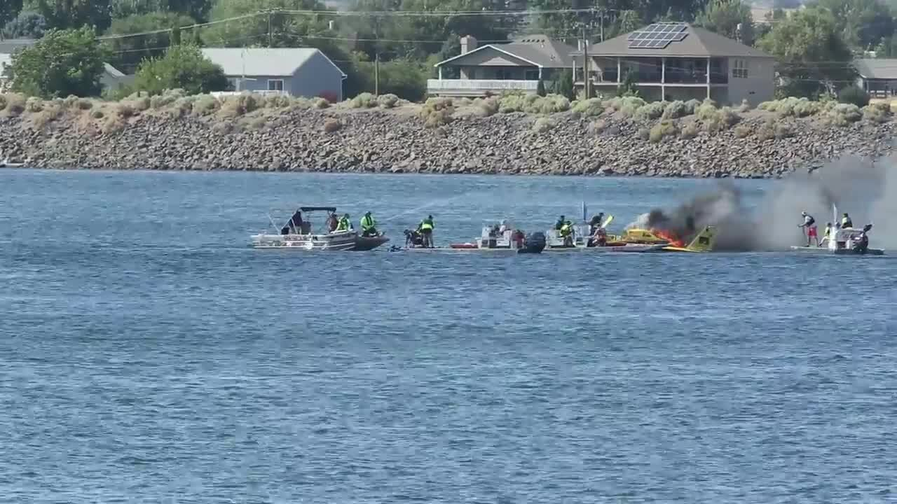 Fire breaks out on Grand Prix boat during Columbia Cup racing during Water Follies