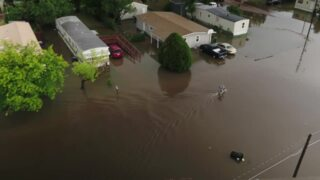 Drone footage of flooding in Scott City, Kansas after heavy rains pass though
